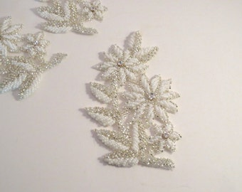 White and Crystal Silver Floral Design Beaded Applique with Rhinestones--One Piece