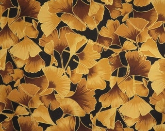 REMNANT--Gold on Back with Metallic Gold Gingko Leaf Print Pure Cotton Fabric--1.5 Yards