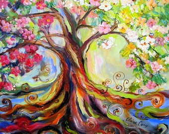 Japanese Plum Tree Original painting 24 x 24 canvas art Fine Art by Elaine Cory