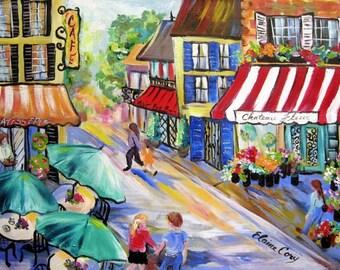 City Scene Original Painting Paris Painting canvas art 18 x 24 Art by Elaine Cory