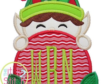 "Elf Peeker Applique Design, Shown with our ""Clubhouse"" Font NOT Included, In Hoop Size(s) 4x4, 5x7, & 6x10 INSTANT DOWNLOAD"