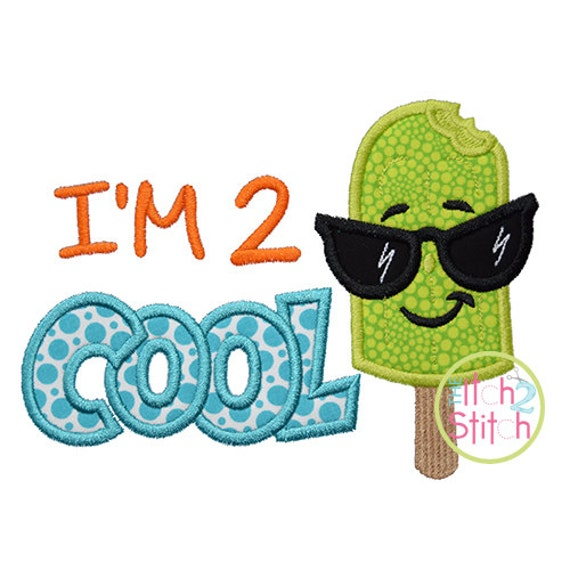 I m cool applique design for machine embroidery words