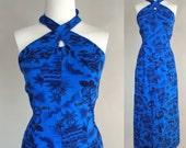70s Hawaiian Maxi / Vintage 1970s Blue Hawaiian Halter / 70s Vintage Blue Hawaiian Maxi Dress / Vintage Hawaiian Dress / Vintage 70s Halter