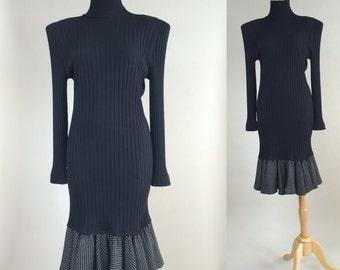 80s Ungaro Dress / Vintage 1980s Black Knit Ungaro Dress / 1980s Vintage Ungaro LBD / 80s Vintage Ungaro Dress / Vintage 80s Black Ungaro