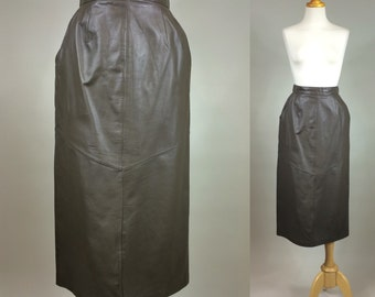 Leather Skirt / Vintage Genuine Leather Skirt / Vintage 1980s Leather Skirt / 80s Vintage Leather Skirt / Leather Skirt