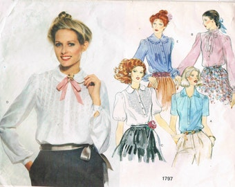 Vintage Vogue Pattern 1797 - Misses' Heirloom Blouses with Embroidery Transfer