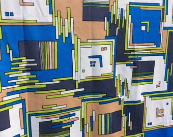 Mod Vintage Polyester Fabric with Blue Geometric Squares (1-2/3 yards) - retro fabric, knit fabric, stretchy fabric, 1960s funky fabric