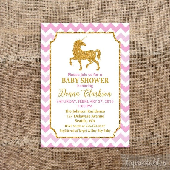 Unicorn Baby Shower Invitation Pink And Gold By Laprintables