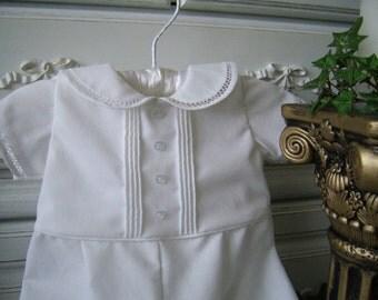 David. Classic Heirloom Bridgework Baptism Romper size newborn to 3 mo. Vintage Style Pintuck Christening Suit, Portrait, Special Occasion