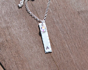 Hand Stamped Sterling Silver Initial Bar Necklace with Swarovski crystals - Gifts for Her - Gifts for Mom