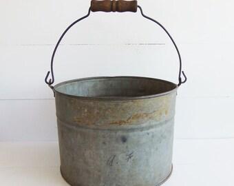 Vintage Grey Zinc  Galvanized Farm  Bucket, Garden Pail