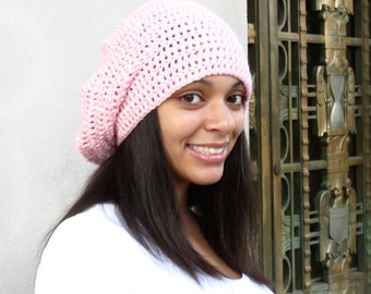 Slouchy Hat, Crochet, Pink, Women,Teen, Ready To ship, Tam