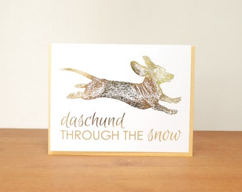gold card: holiday card, christmas card, dashing through the snow, jingle bells, dog card, dachshund