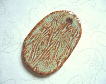 Art Deco Green Pottery Tree Bark Pendant