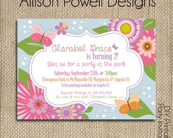Flowers and Butterflies Garden Party - Custom Printable Birthday Invitation