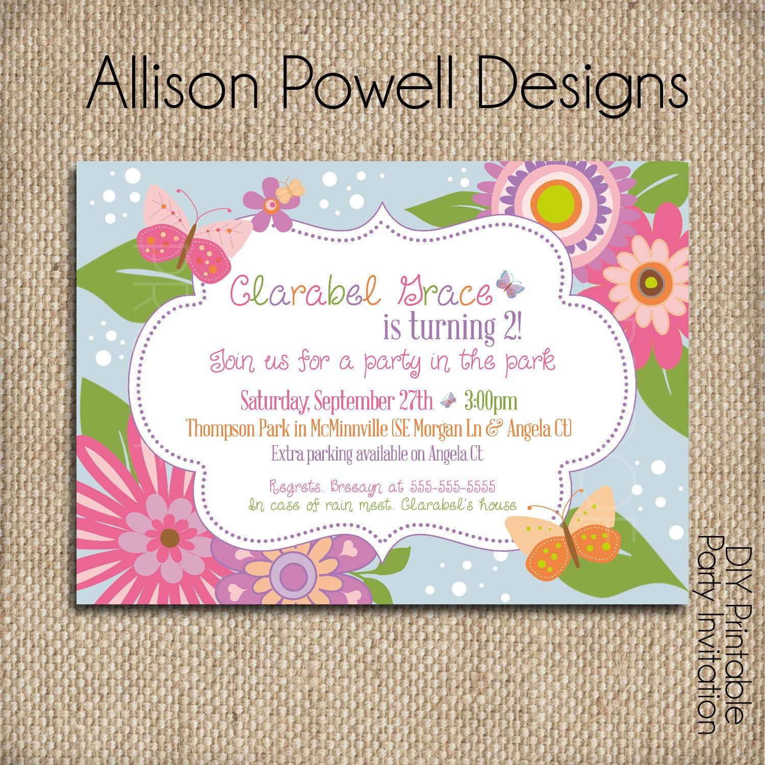 flowers and butterflies garden party custom printable. Black Bedroom Furniture Sets. Home Design Ideas