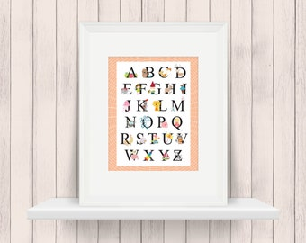 ABC | Alphabet | Nursery Art | Wall Art | Nursery Decor | 5x7 | 8x10 | 11x14 | 16x20