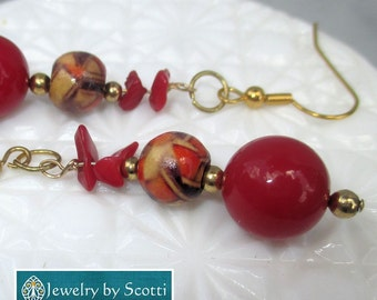 Red and Gold Long Dangle Earrings, Gold Filled Hook Earrings, Patterned Wood Beads, Glass Beads, Festive Earrings, For Her, Party Earrings