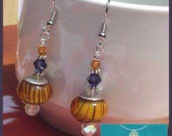 Orange Purple Crystal Dangle Earrings, Her Orange Earrings, Her Boho Earrings, Hypoallergenic Nickelfree, Striped Beads, Statement Earrings