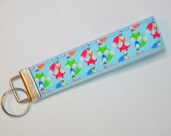 Key fob Keyfob fox toy fox baby fox on light blue fabric wristlet  Key chain fabric lanyard