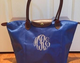 SHIPS NEXT DAY -- Personalized Monogrammed Designer Inspired Longchamp Royal Blue tote bag purse --Free Monogramming