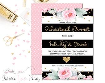 BLACK & GOLD Striped Rehearsal Dinner Invitation - Wedding Rehearsal Invitation - Engagement Dinner - Wedding Rehearsal Dinner - Bridal