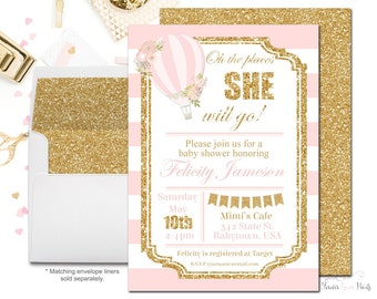 Hot Air Balloon Baby Shower Invitation, Baby Shower Invitation Girl, Hot Air Balloon Invitation, Girls Baby Shower Invitation, Pink + Gold