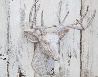 White and Gold Deer Head,Deer Head Wall Mount,Antler Gifts,Deer Head,Faux Taxidermy,Deer Head Wall Decor