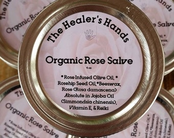 Organic Rose Salve ~ 4oz Mason Jar ~ Reiki Charged