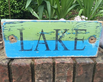 Lake Sign Wall Art Turquoise Green Colours Layered Paint Sign by CastawaysHall - Ready to Ship