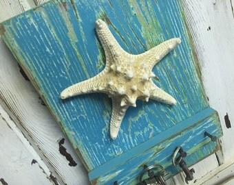 Starfish Key Holder Jewelry Rack Turquoise Green Beach House Cottage Nautical Coastal Decor by CastawaysHall - Ready to Ship