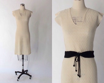 1970s Cotton Knit Dress // 70s Vintage Off White Cap Sleeve Knee Length Dress // Small
