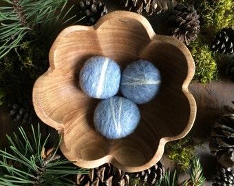 Wool river rocks, set of 3, Ice Blue Heather, light blue felt pebbles, waldorf toy, needle felted pebbles, blue bowl filler, classy cat toy