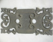 "Antique Cast Iron Edwardian Escutcheon Backplate; Made by ""GRB Co. #112"" Restoration, Repurpose Hardware, 4 3/4 "" x 2 1/2"". 1 Pc."