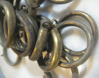 """Antique French Simple Brass Curtain Rings; 12 Hollow Stamped Brass Ring, Original As Found, Drapery Replacement Hardware,1 5/8"""", 12 Pcs."""