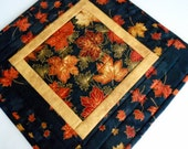 Elegant Quilted Table Topper, Autumn Table Runner, Quilted Candle Mat, Fall Leaves, Black and Gold, Gold Metallic