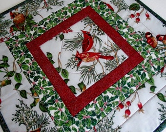 Winter Quilted Table Topper, Quilted Table Runner with Cardinals, Christmas Runner, Red Cardinals, Holly, Christmas Table Runner