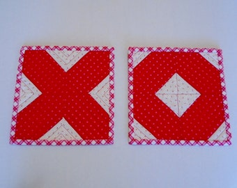 Valentine Mug Rugs, Quilted Mug Rugs, Snack Mat, Mini Quilt, Small Placemat, X and O, Red Pink White