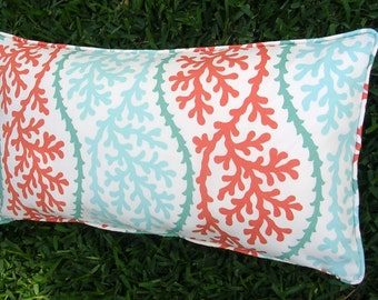 """Bolster Pillow Cover, 14 x 26 inches Kaufmann """"Coral Splendor"""" Indoor/Outdoor"""
