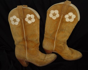 Flower INLAY Brown Leather Vintage 1980's Women's ACME Cowboy Boots 8 N