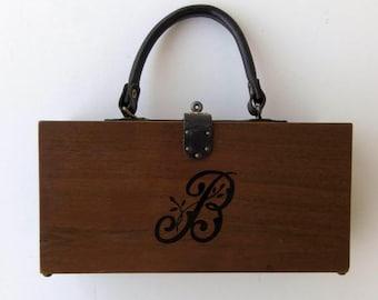 Vintage 60's Purse Handbag Wood Box with Leather Handle Monogram B