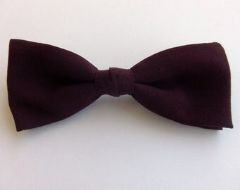 Vintage 60's Tie Bowtie in Dark Mahogany Red Burgundy Clip On Deadstock 2 Available
