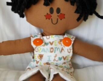 LillieGiggles Brown Baby Boy Rag Doll named I love my Grandma handmade cloth doll stands 12 inches