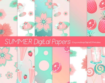 Summer digital paper summer scrapbook paper 12x12 digital paper commercial use Peach and mint Coral and mint