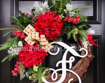 Christmas Wreath for Front Door, Monogram Wreaths, Holiday Door Wreaths, Christmas Gift, Seasonal Door Wreaths, Wreaths