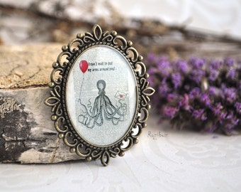 Octopus brooch- romantic brooch, Octopus pin brooch, gift for girlfriend, gift idea for her, brass Octopus brooch - ready to ship