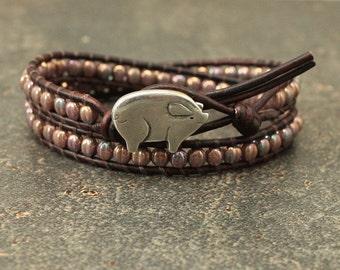 Unique Pig Jewelry Silver Bronze Blue Pink Lavender Pig Bracelet