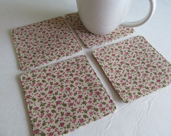 Set Of 4 Fabric Coasters/Small Flowers On Beige