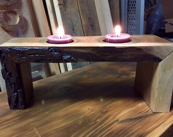 Reclaimed Walnut Votive Stand with Live Edge