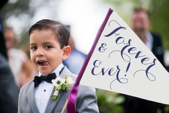 Forever & Ever Sign   Handcrafted Wedding Banner Made To Order Large Pennant Flag Wedding Sign Flower Girl Ring Bearer Modern Script 1131